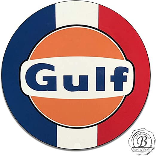 Gulf Dealer gasoline vintage Style Round sign Metal Gas Pump