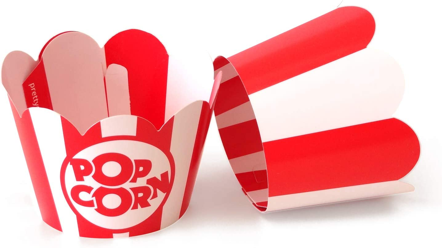 Popcorn Cupcake Wrappers - Red and White Striped - Cute Circus Party Supplies and Carnival Decorations - Movie Night Theme - Easy Set Up For Birthday Parties and Celebrations - Set of 48