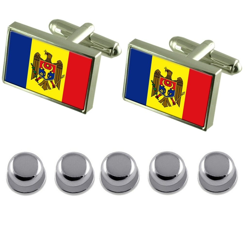 Shirt Dress Studs Moldova Flag Cufflinks