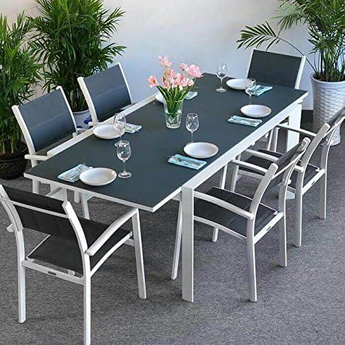 Lazy Susan Janine Mesa de Jardín y 6 Sillas Jane en Blanco & Gris sin Cojines Muebles de Jardín: Amazon.es: Jardín