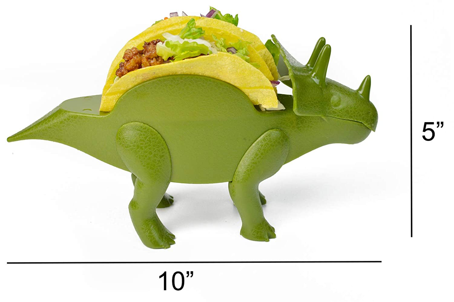 HapWay 2 Pack Plastic Novelty Dino Taco Holder for Kids Dinosaur Taco Holder Fun Triceratops Taco Stand Shell Holder for Taco Tuesday or Lunch Sandwiches