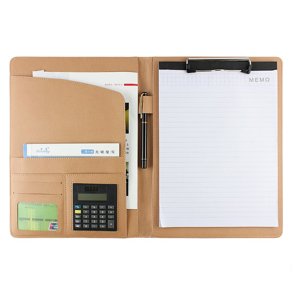 Professional Padfolio Executive Resume Business Portfolio Folder Document Files Organizer with Letter size Memo Pad, 8 Digital Calculator, Pen Loop, Card Holder, Pockets for Office School Business by Moonlove (Image #1)