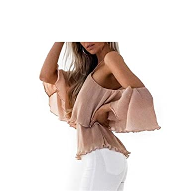 Chiffon Blouse White Shirt Women Halter Off Shoulder Blouse Ruffle Cold Shoulder Ladies Pink S