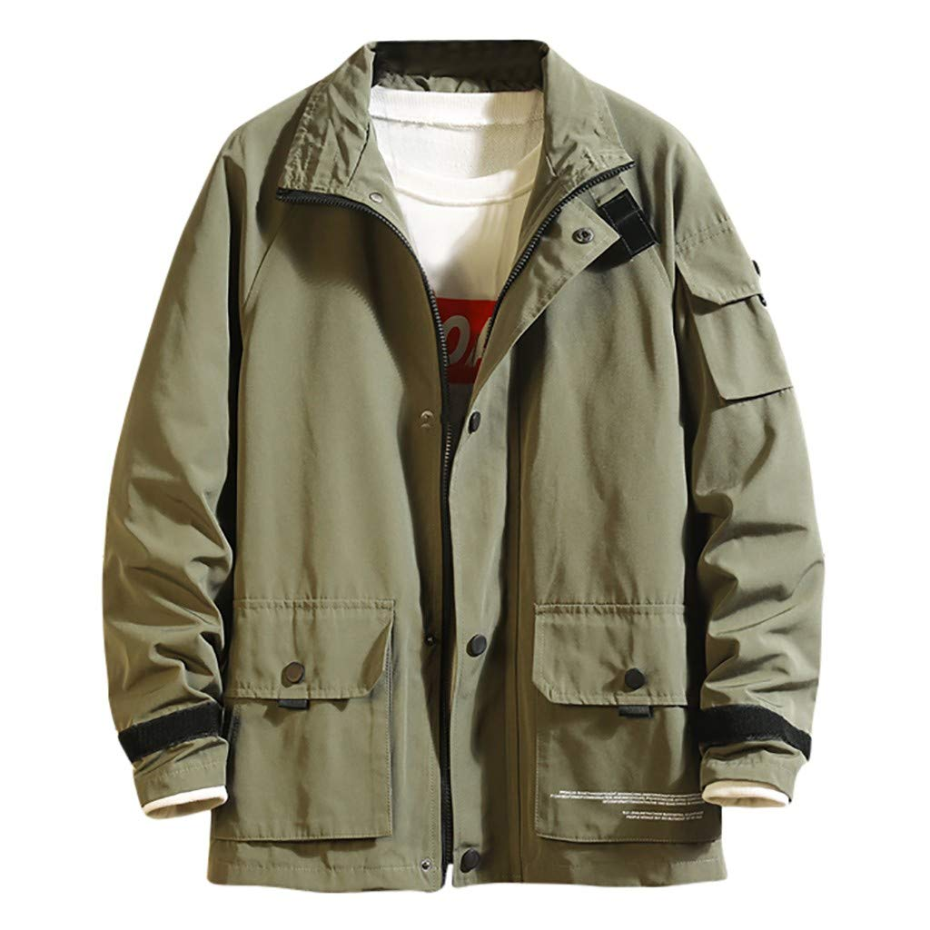 Men's Casual Cotton Military Jacket Zip-Up Multi-Pocket Windbreaker Bomber Jackets and Coats Army Green