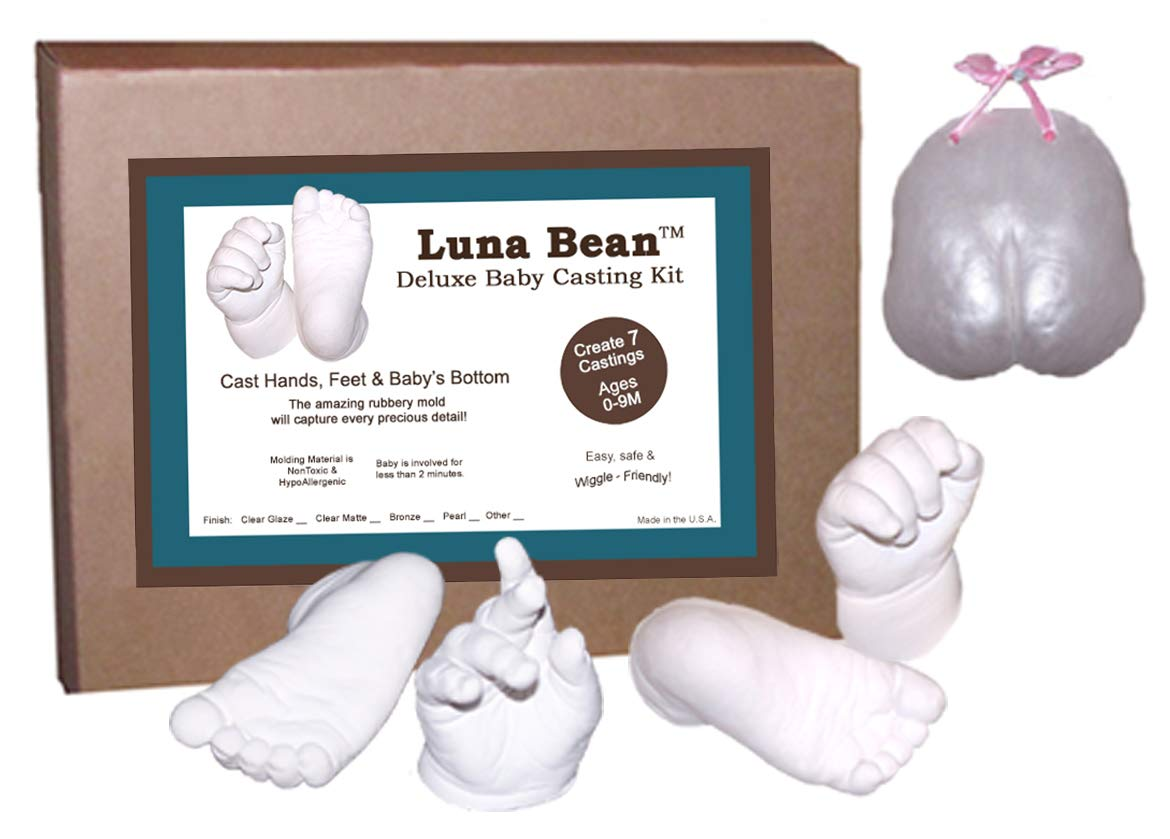 Luna Bean Deluxe 3D Prints Baby Casting Kit - Mold and Cast Infant Foot and Hand (Clear Sealant - Gloss)