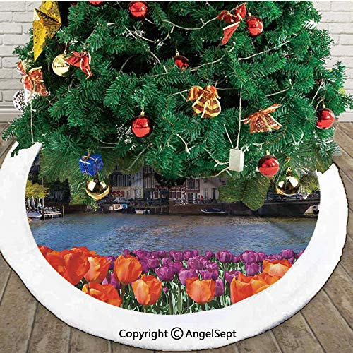 European City Holland Amsterdam Scenery of Old Victorian Era Houses Art Print,Double Layers Christmas Tree Skirt,Color,36 inches,Themed with Christmas Ornaments (Christmas Victorian Crackers Era)