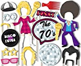 70's Disco Fever Photo Booth Props Kit - 20 Pack Party Camera Props Fully Assembled