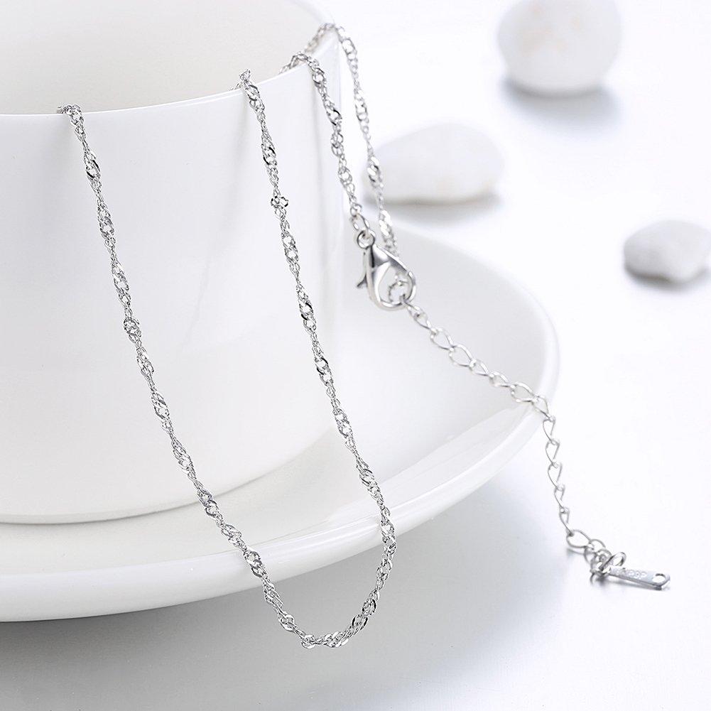 JOLI JEWELRY Hotsale fashion 1.5mm Platinum plated Water-wave dainty necklace chain for women, 20'' by JOLI JEWELRY (Image #2)