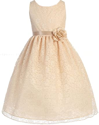 fb7113bcf30e Little Girls Adorable Lace Overlay Spring Summer Flowers Girls Dresses  Champagne Size 2