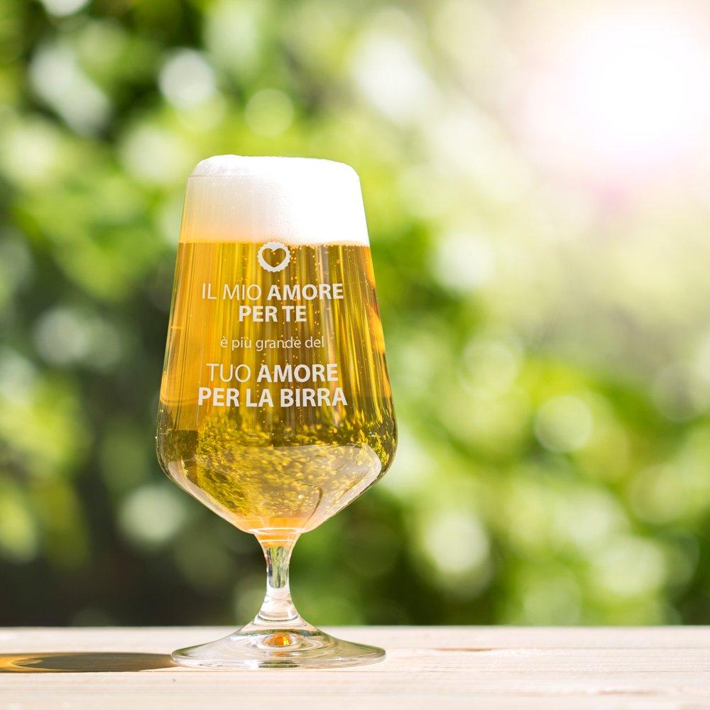 Amore per la Birra Bicchiere a Tulipano Regalo di Natale Regalo di San Valentino Regalo di Compleanno Calice da Birra con Incisione Divertente AMAVEL Capacit/à: 0,4 l Regalo per Lui