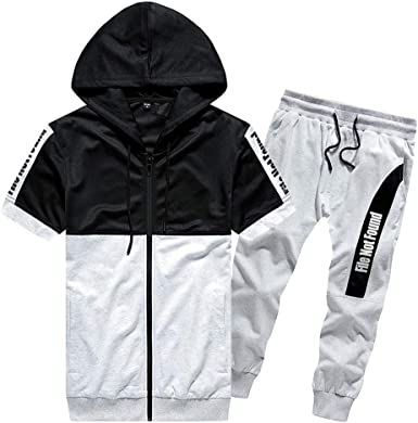 Men Hooded Sweatshirt Top Pants Sets Full Zip Casual Short