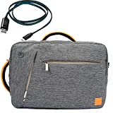 Gray VanGoddy Compact Design Multiple Briefcase Messenger Backpack Shoulder Bag for Lenovo IdeaPad 100-14 Fit 12.2 to 15.6 inch + Micro USB Cable