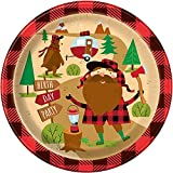 Unique 58395 Buffalo Plaid Lumberjack Birthday Paper Party Plates, 8 Count