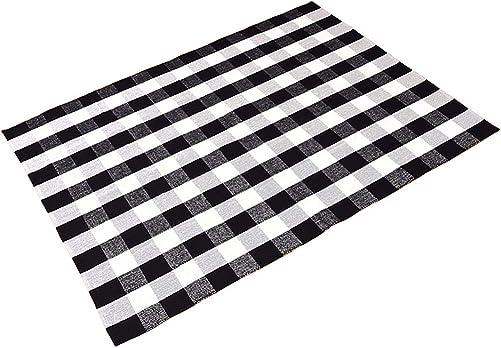 Ukeler Large Black and White Plaid Rugs 5.6 7.6 for Living Room Bedroom Dinning Room