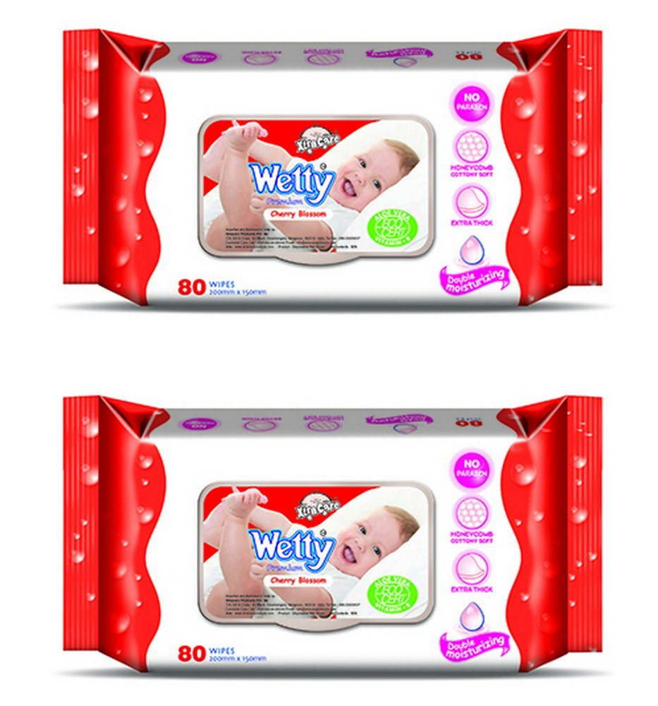 Wetty Premium Wet Wipes - Cherry Blossom (80 + 80 Count)