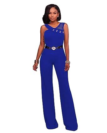 9fb3ec3953bc8 VERTTEE Straight Belt Hollow Women s Jumpsuit Loose Wide Leg Jumpsuits  Rompers With Belt Blue S