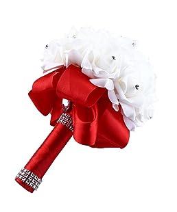 SALLYDREAM Flores Artificiales de Seda Rosas de Cristal Perla Dama de Honor Boda Ramo Nupcial (Rojo)