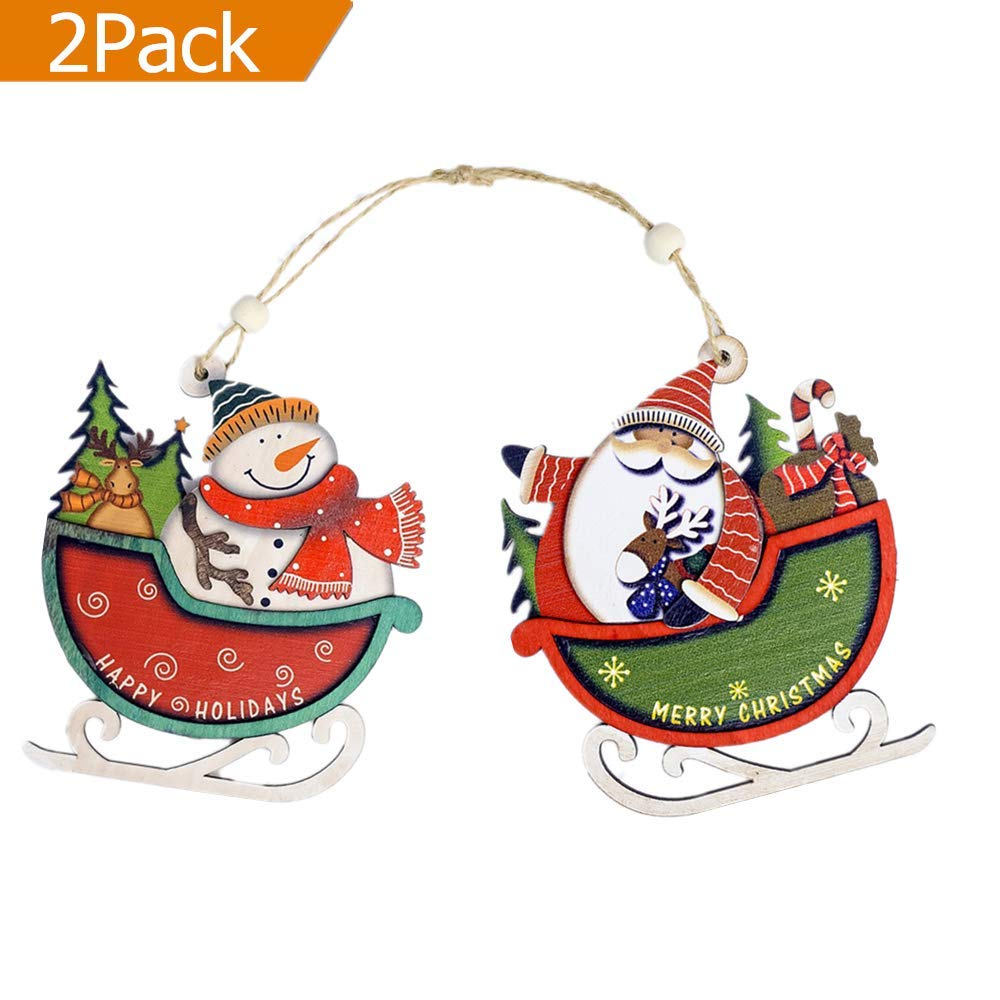 ERT Christmas Tree Decorations,Wood Slice DIY Hanging Ornament for Holiday Xmas Tree Deacorations,The Door Decor (2 Pack Sleigh car)