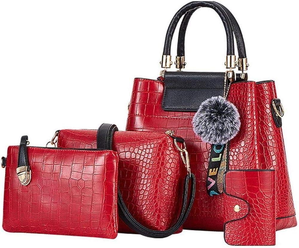 A-Gavvzq 4Ps Bolsos de mujer Set Bolsos de lujo para mujer Bolsos de hombro de cuero de la PU Bolsos compuestos de marca Bolso de mensajero 4ps Red
