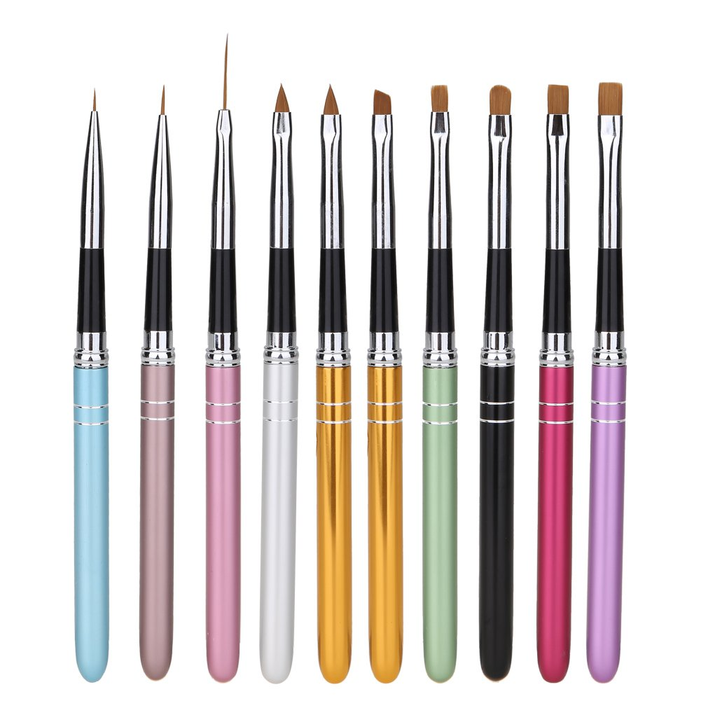 10 Unids Nail Art Design Punteado Pintura Dibujo Pluma Polaco Cepillo Conjunto UV Gel de Uñas Kit de Herramientas de Belleza Jocestyle