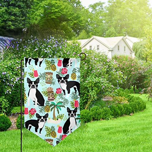 Huahomeflag-id Home Garden Flags Boston Terrier Christmas Family Flag Vertical Double Sided 12.5 X 18 Inch- Yard Holiday and Seasonal Garden Flag Set for Outdoors Decorations