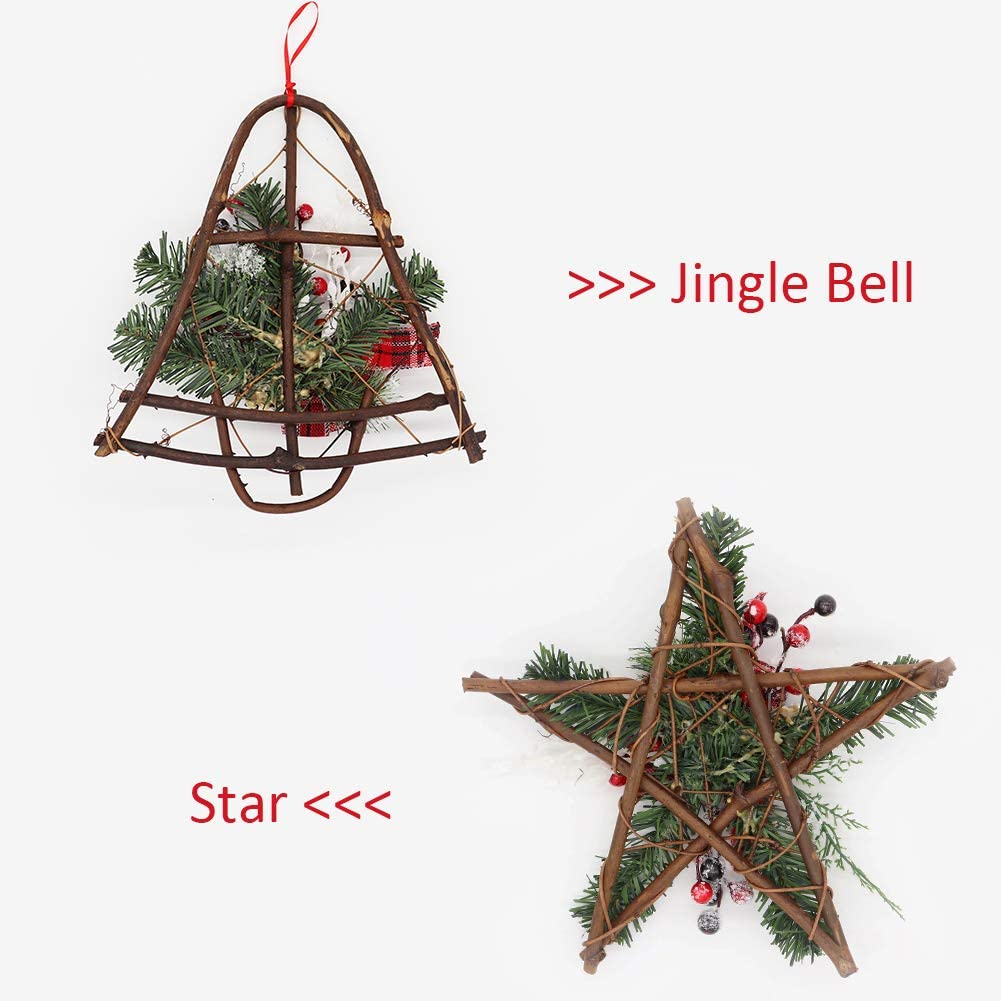Bibivisa 2 Pieces Christmas Grapevine Wreath with Snow 12inch Natural Pine Cone with Red Berries Bow Glitter Branch Ornaments Xmas Garland for Home Party Decoration Holiday Winter Gift