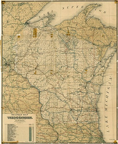 (Historic Map | Wisconsin 1898 | Railroad map of Wisconsin | Antique Vintage Reproduction 20in x 24in)