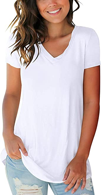 Basic V-NECK Short Sleeve Women//Juniors Solid Top Cotton T Shirt S-XL