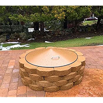 """Amazon.com : Round Metal Wood Gas Fire Pit Campfire Ring Cover 34-3/4"""" Diameter : Patio, Lawn ..."""