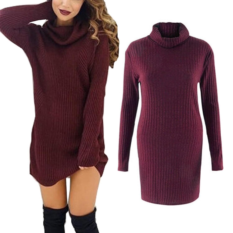 LIYT Womens Loose Cowl Neck Sweater Dress