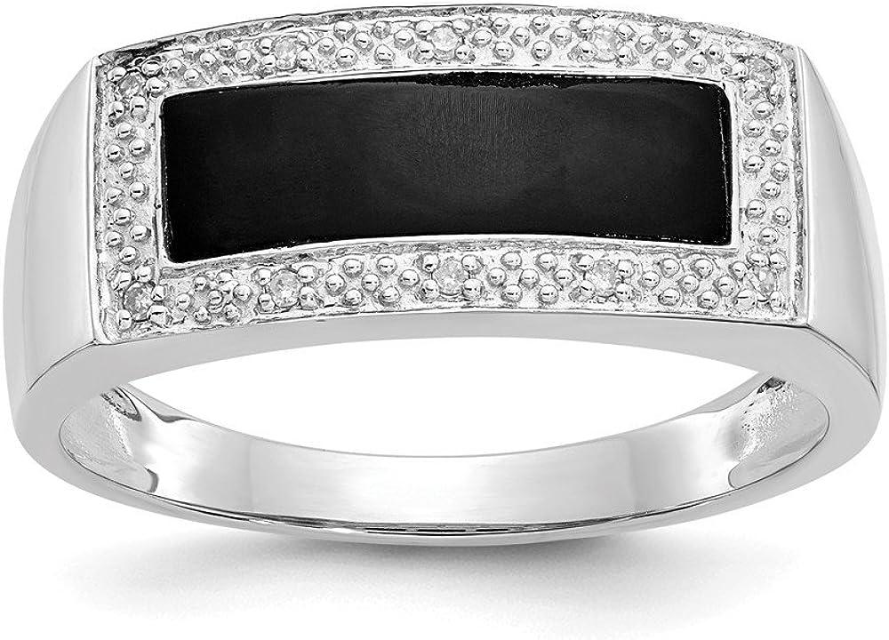 Jewels By Lux 14K Oro Blanco Onyx y un Anillo para Hombre de Diamante Calidad/Diamantes Quilates. 0,04tamaño -10
