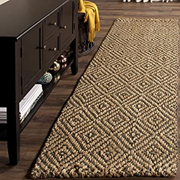 """Safavieh Natural Fiber Collection NF181D Hand Woven Natural and Grey Jute Runner (23"""" x 8)"""