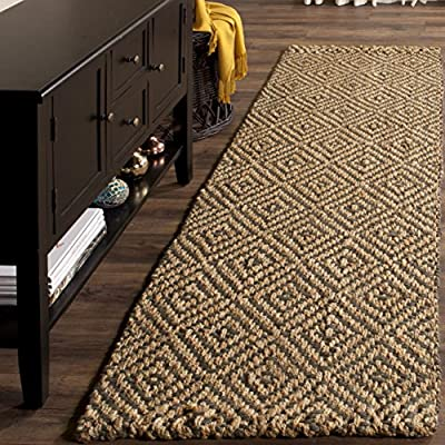 Safavieh Natural Fiber Collection NF181D Hand Woven Natural and Grey Jute Square Area Rug -  - runner-rugs, entryway-furniture-decor, entryway-laundry-room - 61hFlBQXPsL. SS400  -