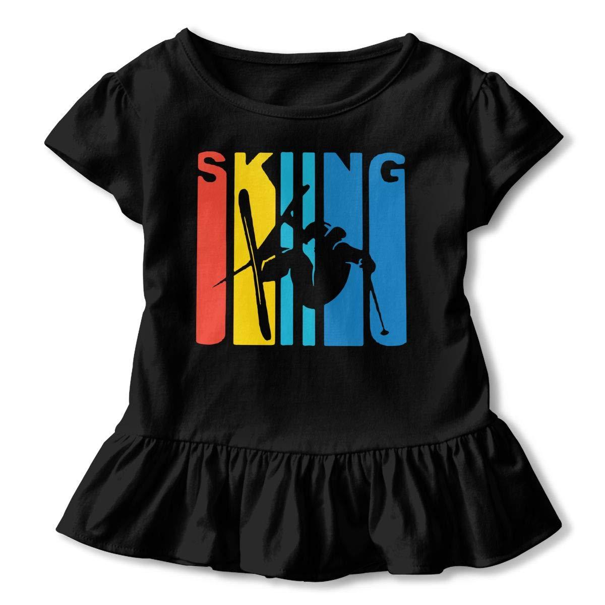 SHIRT1-KIDS Retro Skiing Childrens Girls Short Sleeve Ruffles Shirt Tee Jersey for 2-6 Toddlers