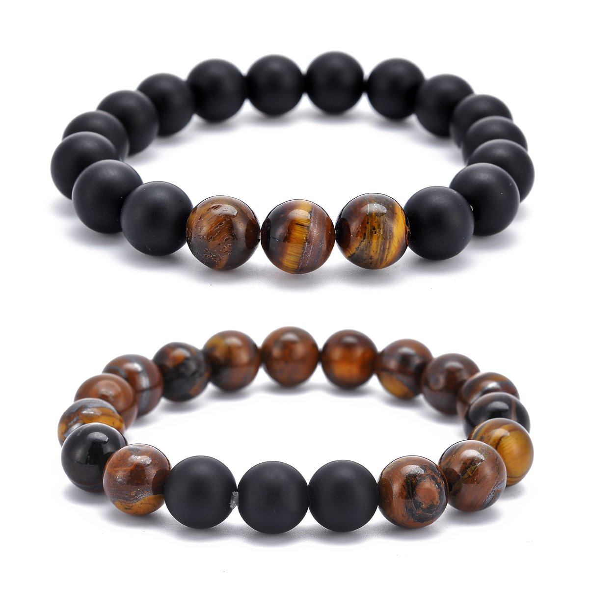 HOUSWEETY Long Distance Relationship Tiger Eye and Onyx Gemstone Matching Set Bracelet 10mm Beads (2pcs) P0X0M0A5O9
