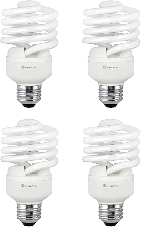 Compact Fluorescent Light Bulb T2 Spiral Cfl 2700k Soft White 23w 100 Watt Equivalent 1600 Lumens E26 Medium Base 120v Ul Listed Pack Of 4 Amazon Com