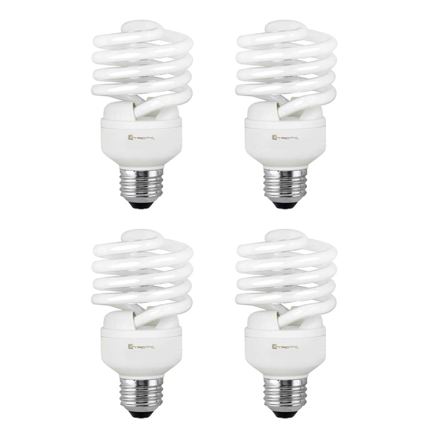 Compact Fluorescent Light Bulb T2 Spiral CFL, 5000k Daylight, 23W (100 Watt Equivalent), 1520 Lumens, E26 Medium Base, 120V, UL Listed (Pack of 4)