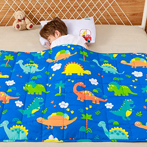 Anjee Kids Weighted Blanket, 100% Natural Cotton Heavy Blanket for Children, 2.3kg 90x120cm, Dinosaur Park