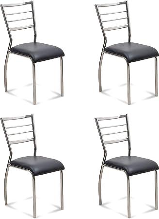 Saakshi Enterprises Classy Stainless Steel Chair - Set of 4 Pcs (Black)