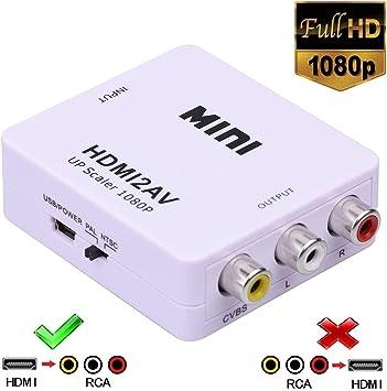 Phoebe168 1080P HDMI a CVBS/AV Convertidor de señal Caja Soporte PAL/NTSC para PC portátil Xbox HDTV STB VCR cámara Blue-Ray DVD TV Blanco: Amazon.es: Electrónica