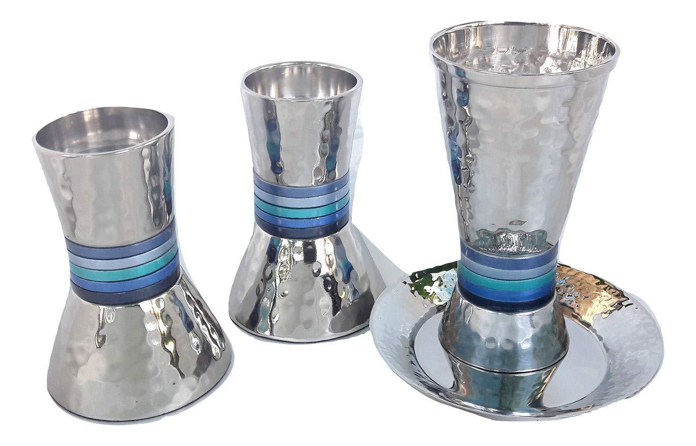 gift set for Shabbat Aluminum textured blue/silver Candlesticks & kiddush cup