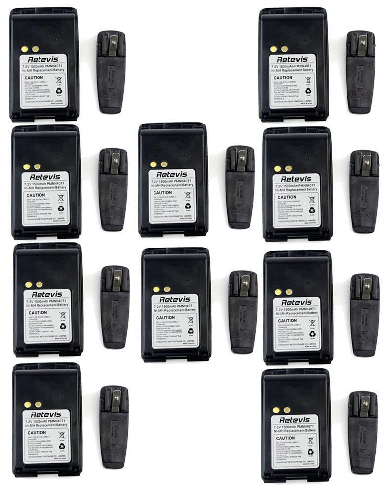 Retevis 7.2V 1500mAh Ni-MH Walkie Talkie Battery and Radio Belt Clip for Motorola Talkabout Mag One BPR40 A8 PMNN4071 PMNN4071AR 2 Way Radio (10 Pack)