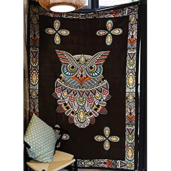 YOUSA Psychedelic Owl Tapestry Large Art Dorm Decor Owl Tapestry Wall Hanging 58''x82''