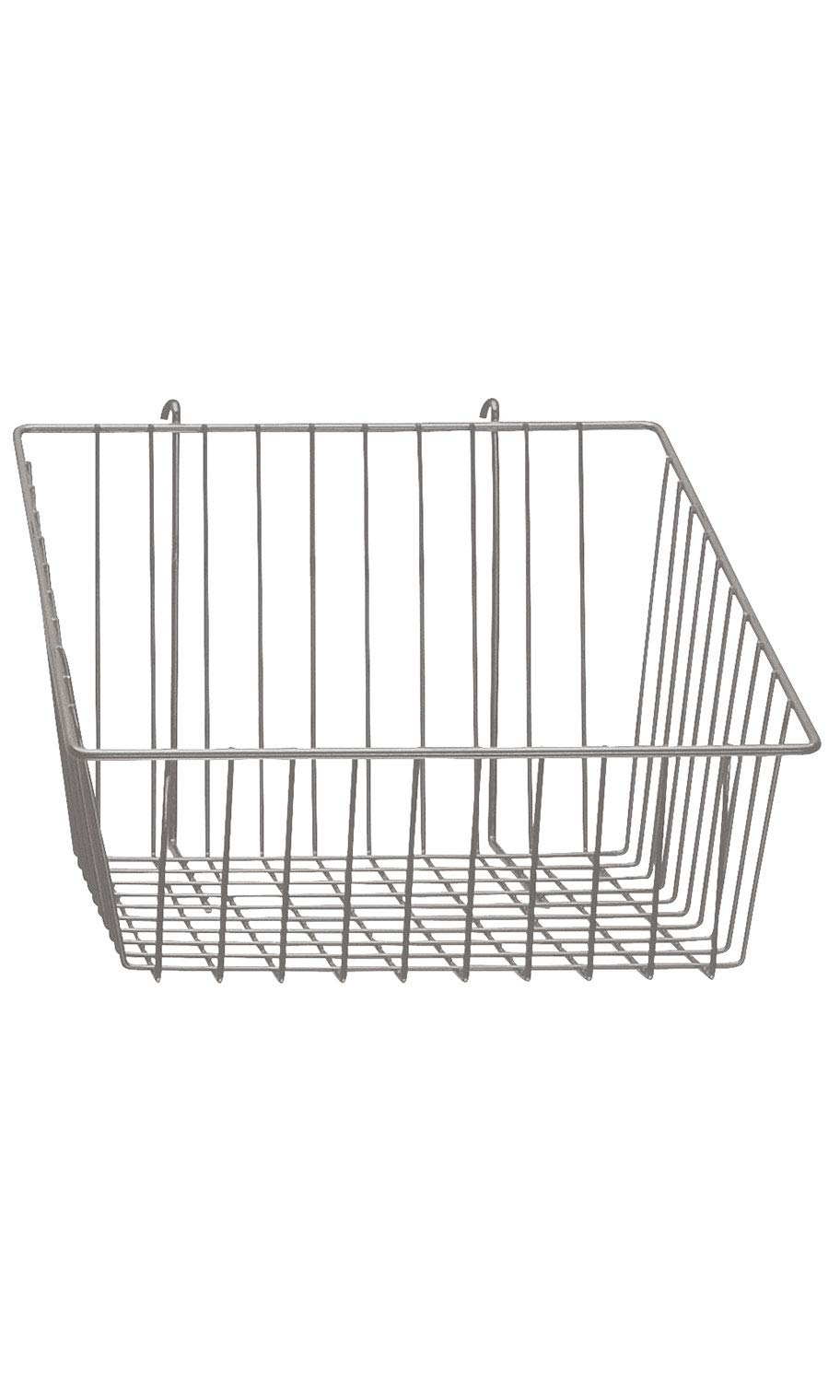 Chrome Mini Wire Grid Basket for Wire Grid with 4 inch Slanted Front Lip - 12''W x 12''D x 8''H
