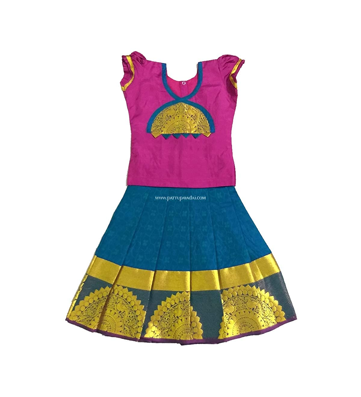 f4b41c6671e27 Pattu pavadai soft silk pavada peacock blue and pink for baby girls kids  clothing jpg 1200x1320