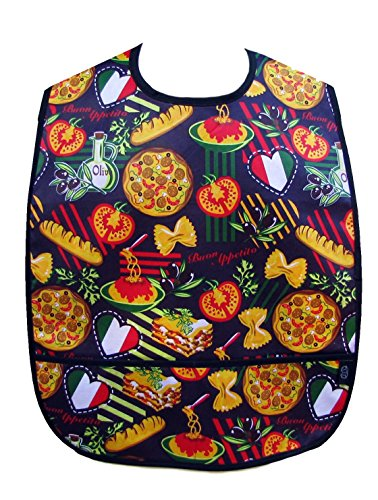 Adult Clothing Protector Bib with Front Pockets (Pasta and Pizza)