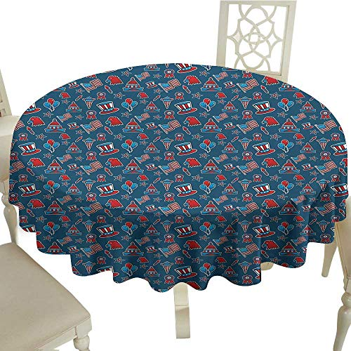 4th of July Easy Care Leakproof and Durable Tablecloth Icons of The USA Patriotic Bald Eagle Silhouette White House and Old Glory Outdoor Picnic D59.05 Inch Ruby Blue ()