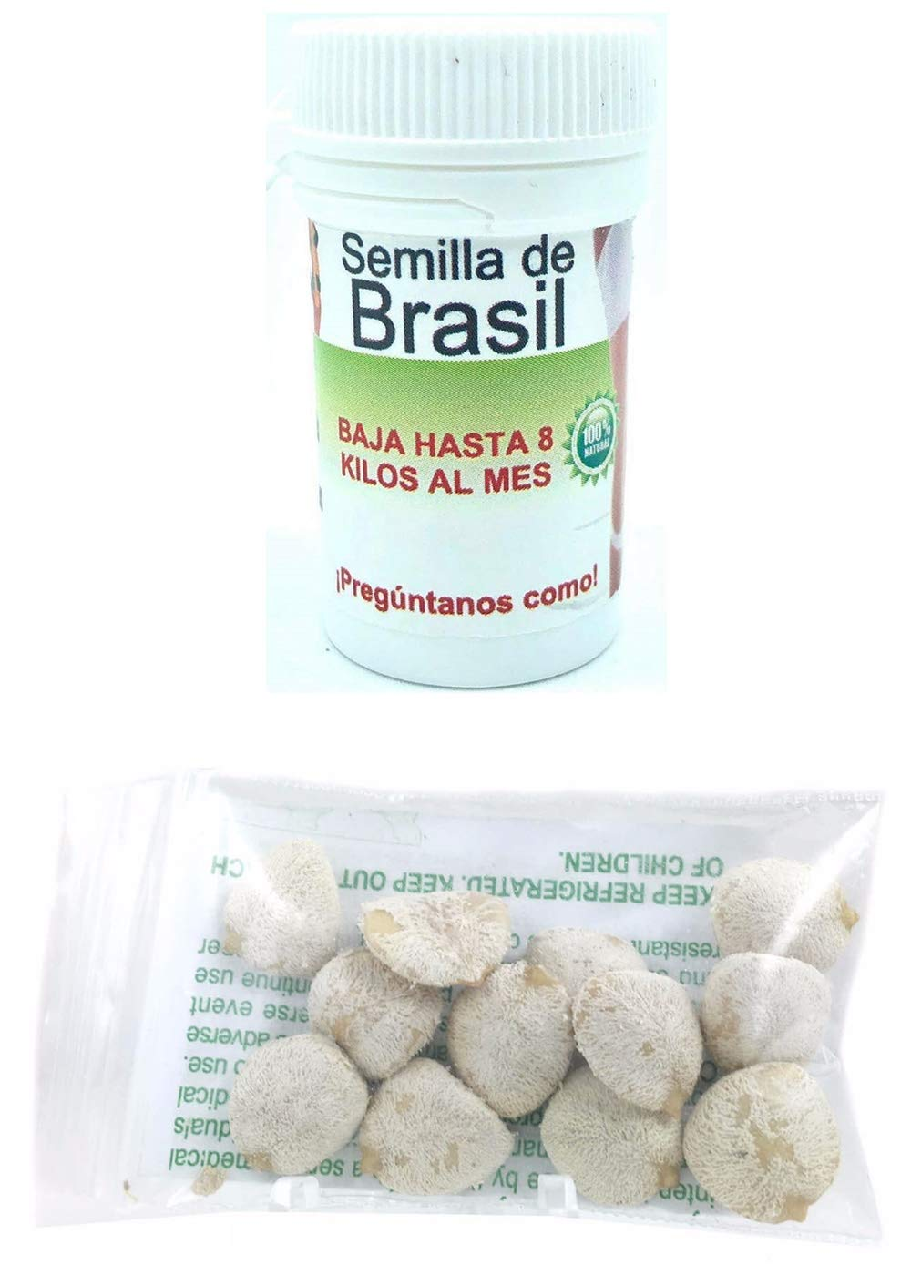 Semilla de Brasil Seed Original Brazilian Natural Weight Loss 30 Seeds For 30 day AND Indian Nut 12 Seeds For Weight Loss