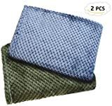 Blanket For Dogs Cats, Chol & Vivi Dog Blankets 2PCS Premium Soft Flannel Blankets For Dog Bed Dog Cover Couch, Lightweight Dog Blankets And Throws For Small Meidum Dog Cat, (39''X27.5'') Blue And Green