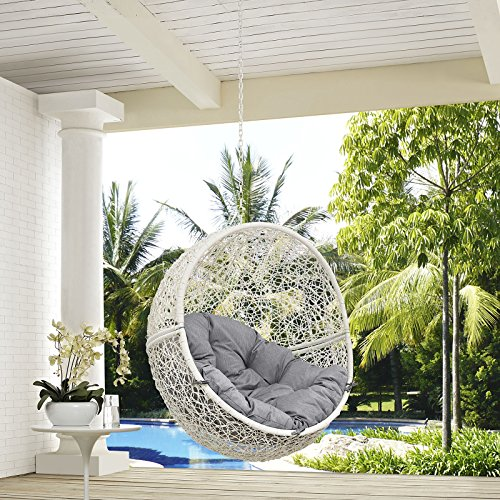 Modway Hide Outdoor Patio Swing Chair Without Stand, White Gray (Patio Swing Parts)